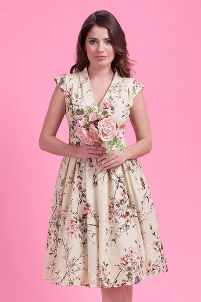 Lady Vintage cream floral eva dress close