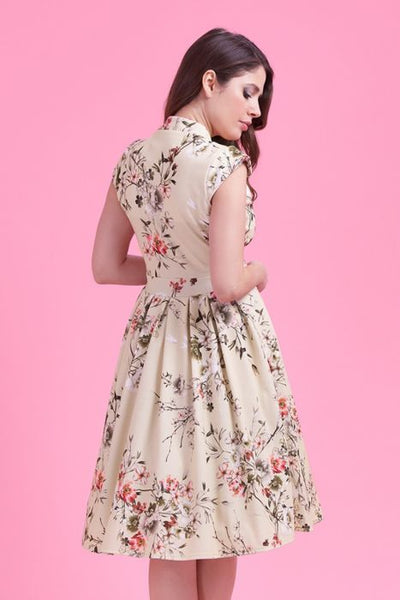 Lady Vintage Eva dress cream floral back close up