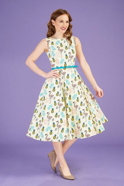 Lady Vintage tiki flamingo Hepburn dress NZ