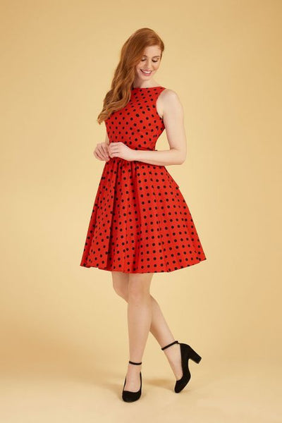 Lady Vintage red polka dot tea dress NZ