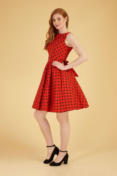 Lady Vintage red polka dot tea dress modeled.