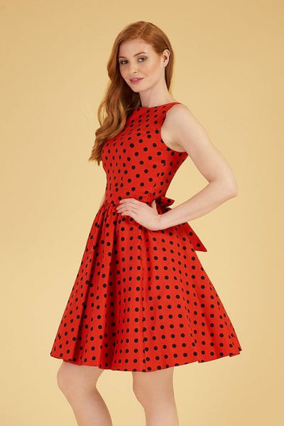 Lady Vintage red polka dot tea dress side close up