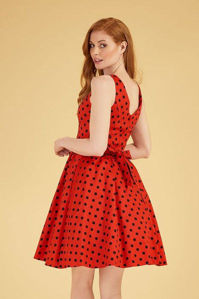 Lady Vintage red polka dot tea dress back