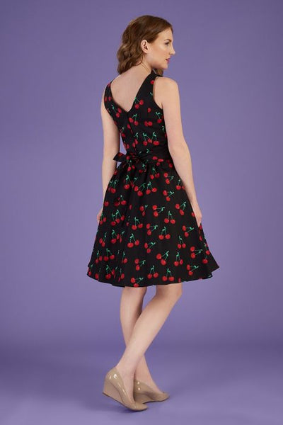 Lady Vintage tea dress cherry print back