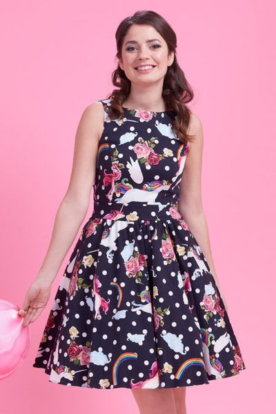 Lady Vintage unicorn and rainbows tea dress
