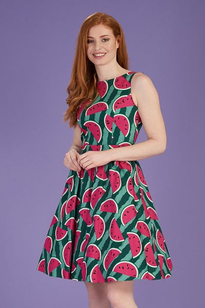 Lady Vintage tea dress modeled watermelon print