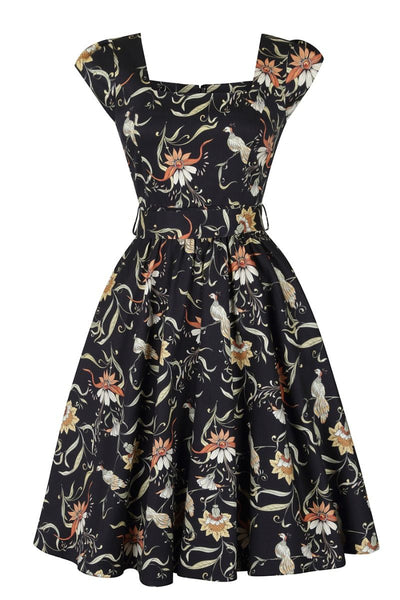 Lady-Vintage-black-bird-swing-dress-nz