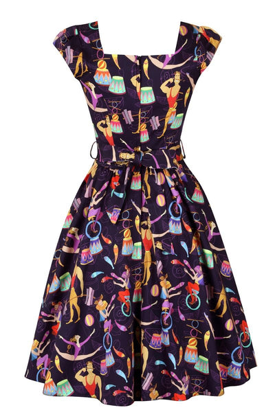 circus-print-lady-vintage-swing-dress-back
