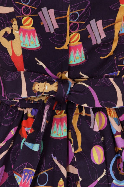 circus-print-lady-vintage-swing-dress-bow-detail