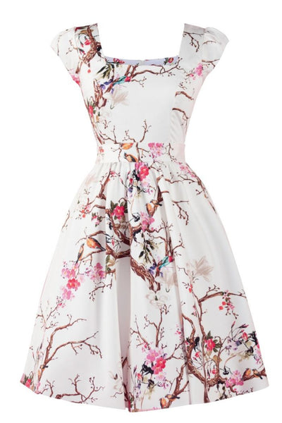 Lady-Vintage-white-floral-dress-spring-bird-dress-nz