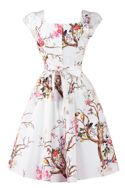 Lady-Vintage-white-floral-dress-spring-bird-dress-back