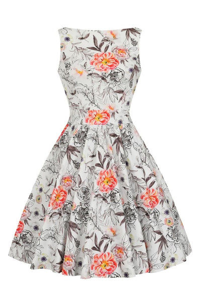 White Sketch Floral Tea Dress