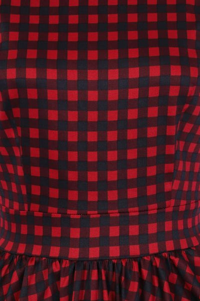 Red and black gingham tea dress