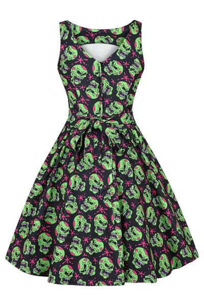 Lady Vintage skulltastic halloween tea dress back