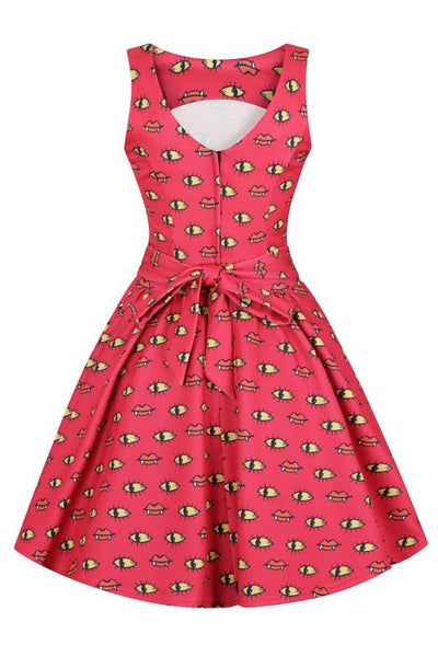 Lady Vintage eyes to mouth Halloween tea dress back