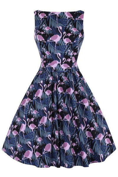 Lady Vintage dark flamingo tea dress NZ
