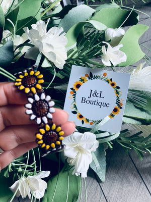 Leather sunflower bracelet large ( white & yellow )