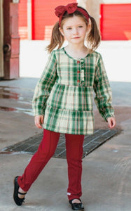 RuffleButts Plaid Holiday Henley