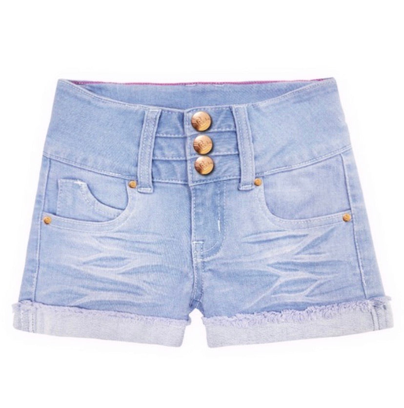 Ice Blue Denim Shorts