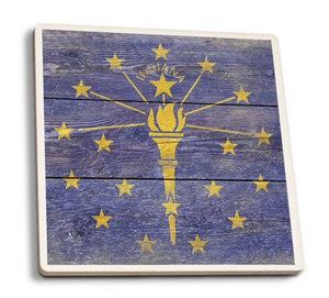 Indiana Rustic Flag Drink Tile Coaster