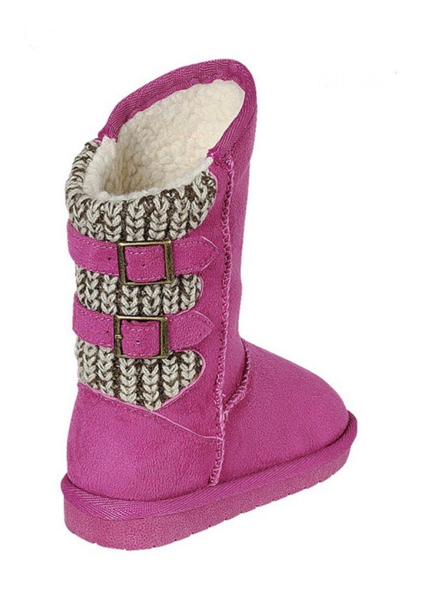 Kids Fuchsia Faux Suede Boots