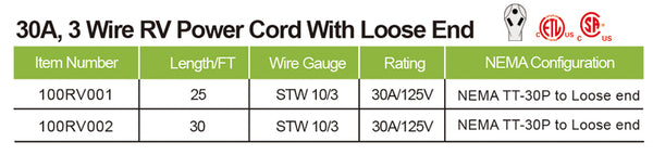 RV POWER CORD WITH LOOSE END 30A