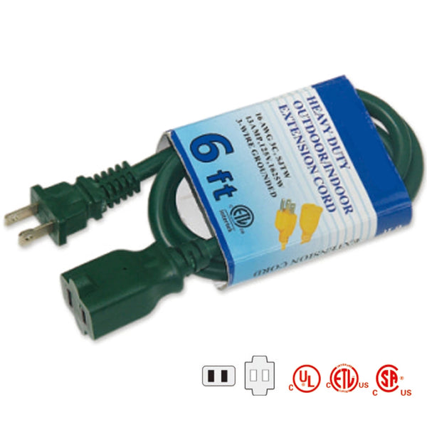 Indoor Extension Cords 2 Conductor-green 16/2AWG 13AMPS TrekPower