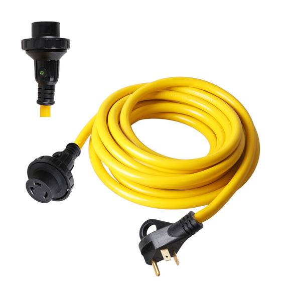 TrekPower 30 Amp  RV Extension Cord Twist Locking on Female With Finger Grip on Male ( RV30-25TH/50TH ) 100RV007-25/50