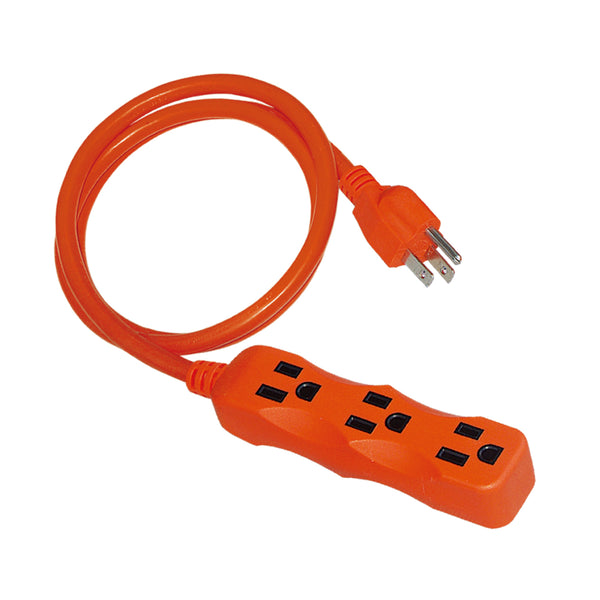 16/3 AWG Outdoor Extension Cords 3 Outlet Straight 13AMPS orange Trekpower