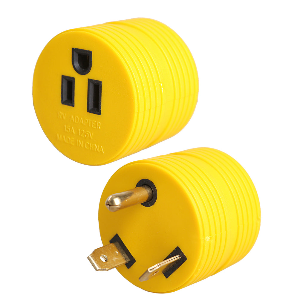 30 Amp Male to 15 Amp Female Adapter  Round