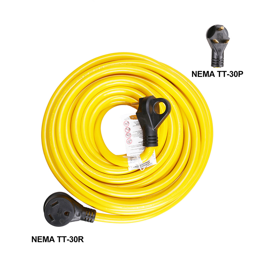 TrekPower 30Amp 3 Wire RV Extension Cord With Finger Grip