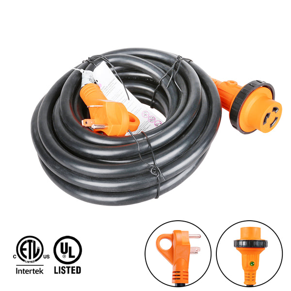 25 foot 30 amp rv extension cord twist lock light