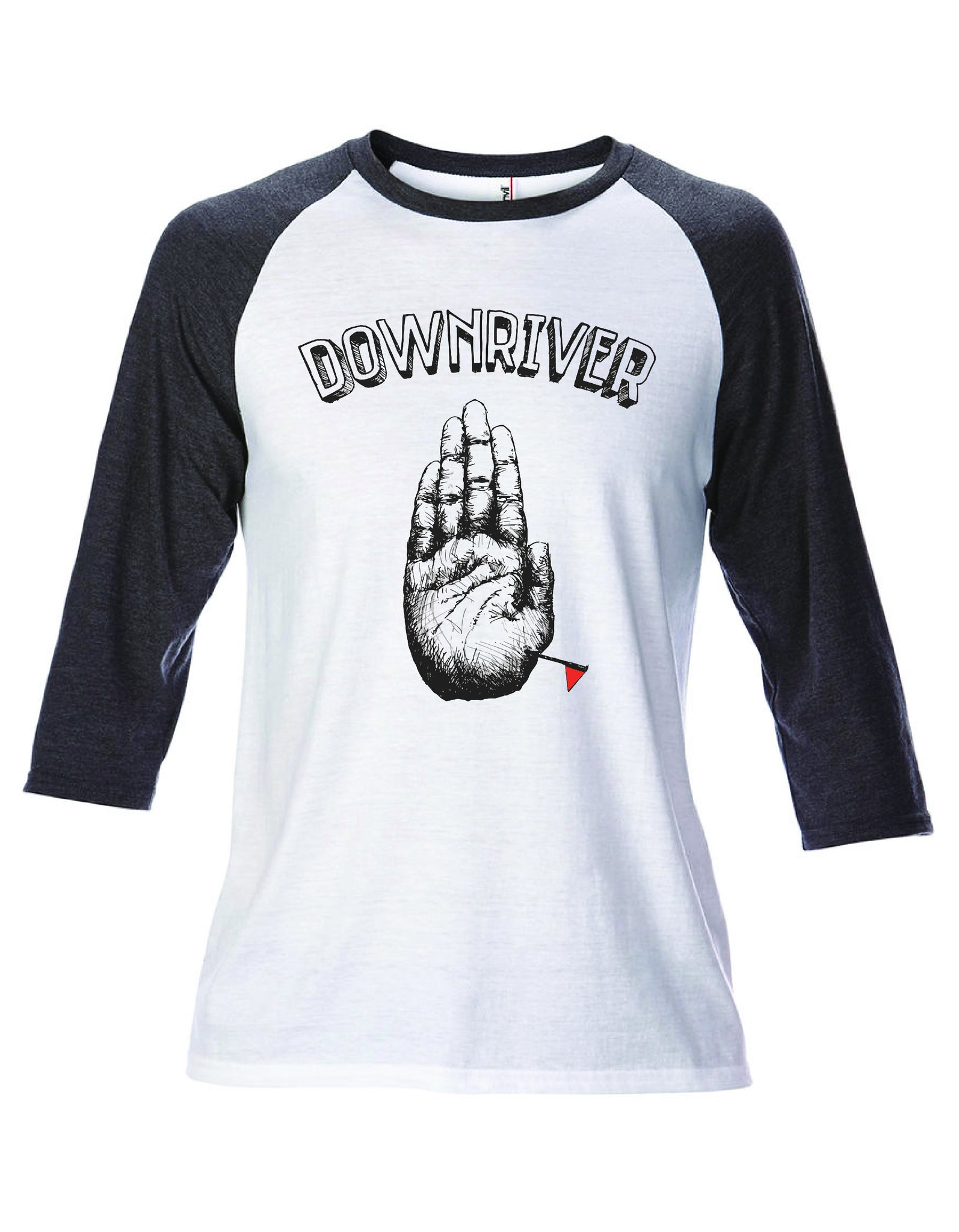 "DOWNRIVER 3/4 Sleeve Baseball Tee with ""Location Marker"""