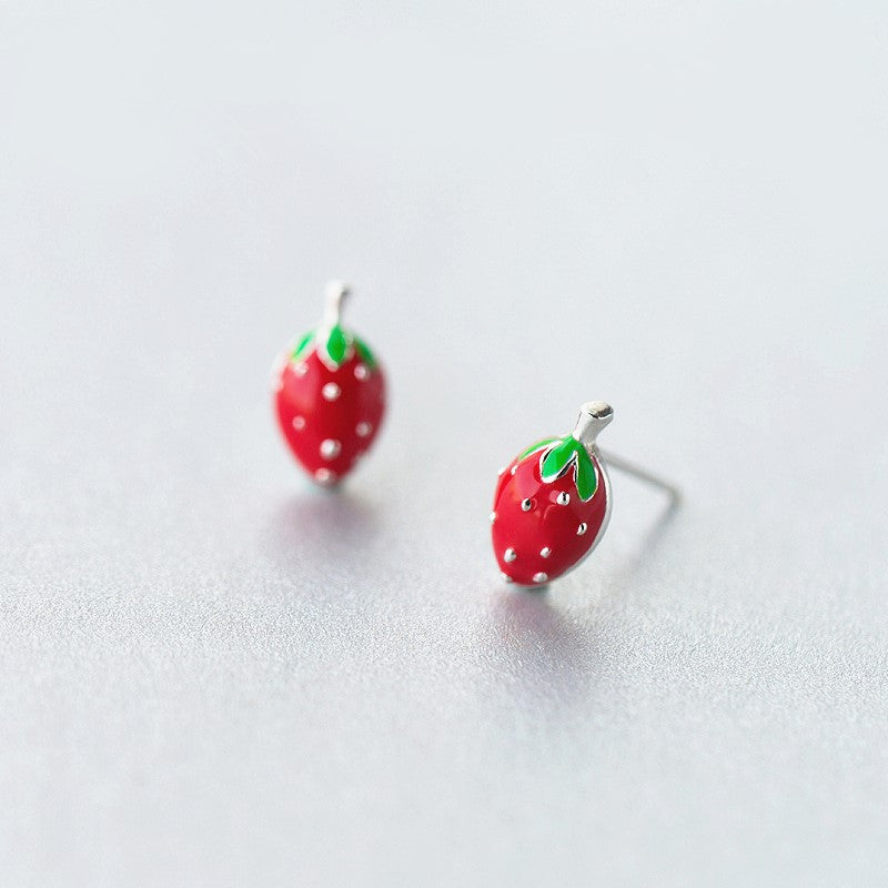 s crystal strawberry silver claire earrings sterling stud