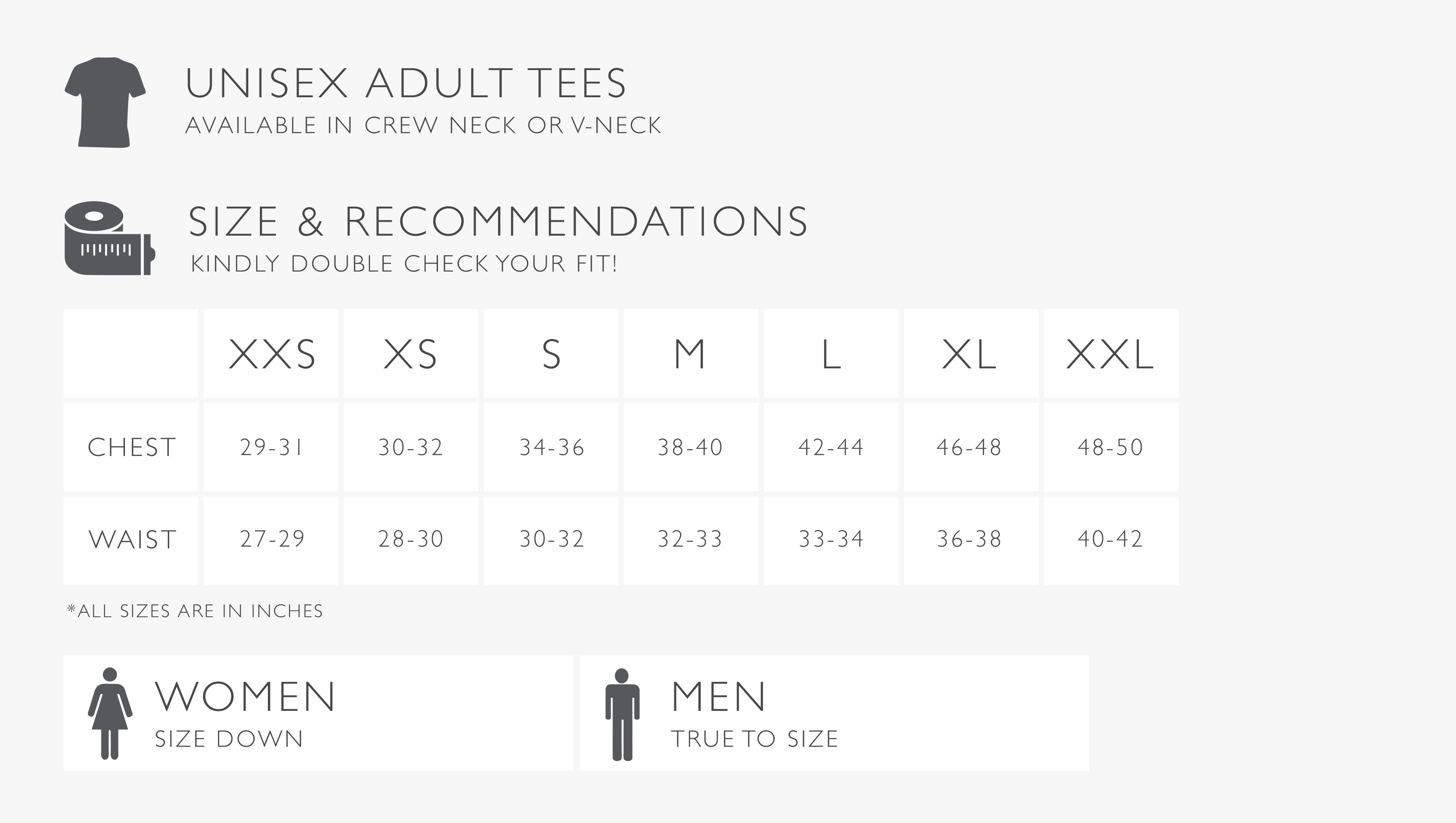 Adult Tee Size Chart