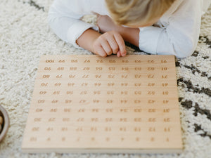 Wooden 100 Number Board • Engraved Numeral Chart in Modern Font