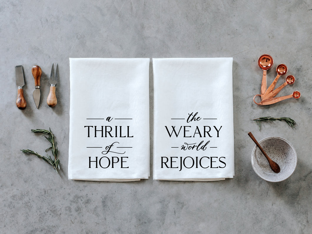 O Holy Night A Thrill of Hope Set of Two Christmas Tea Towels