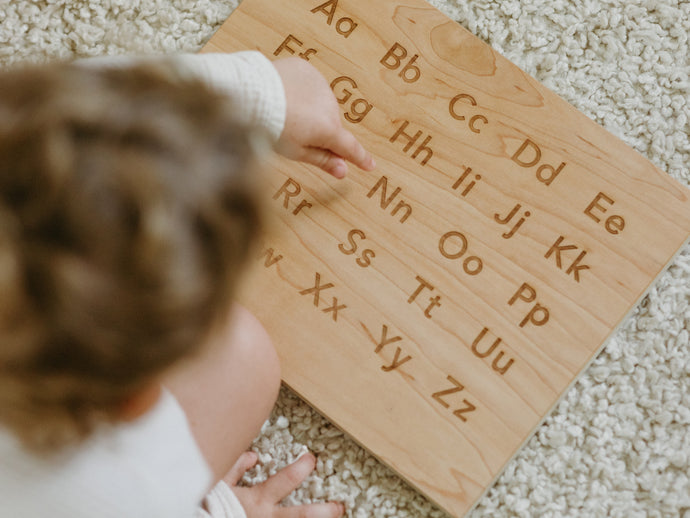 Wooden Alphabet Montessori Board and Tabletop Reference Chart • Modern Sans Serif