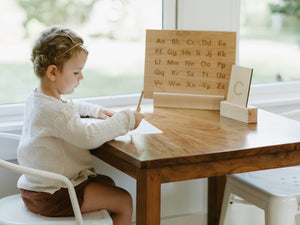 Wooden Alphabet Flash Cards • Lowercase Letters on Sturdy Wood Cards