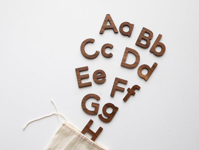 Wooden Alphabet Set • Wood Letters & Movable Alphabet in Walnut