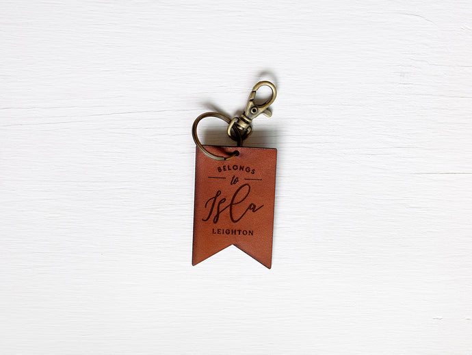 Custom Leather Tag Keychain • Modern Banner Tag