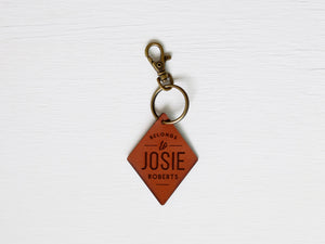 Custom Leather Tag Keychain • Modern Diamond Tag