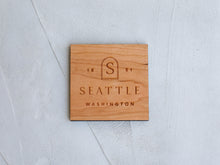 Load image into Gallery viewer, Boho Custom City & State Badge Wooden Coasters • Handmade Set of 4
