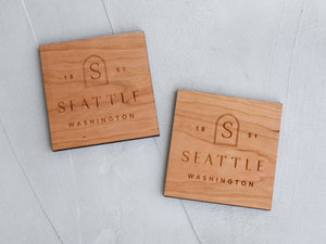 Boho Custom City & State Badge Wooden Coasters • Handmade Set of 4