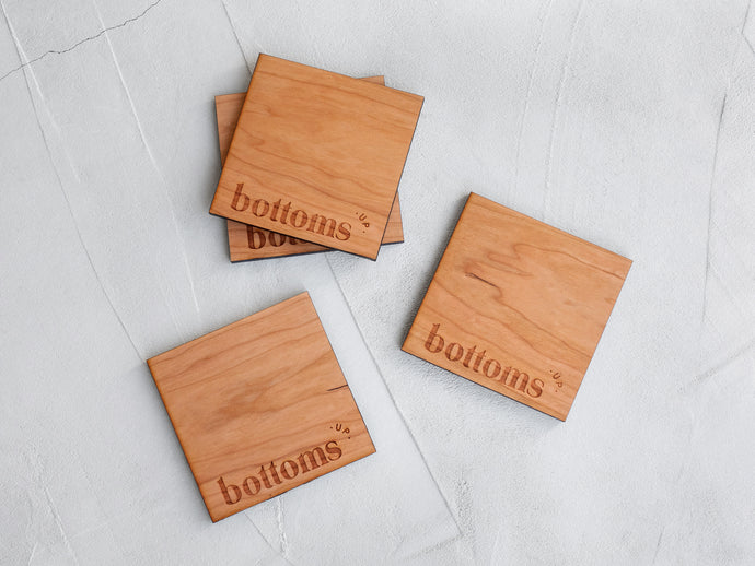 Bottoms Up Modern Wooden Coasters • Handmade Set of 4