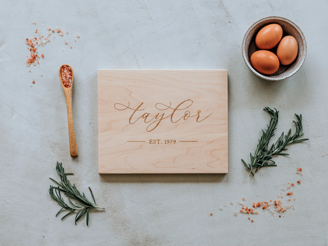 Modern Calligraphy Engraved Handmade Cutting Board