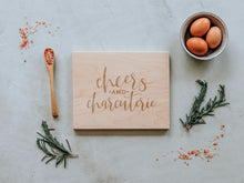 Load image into Gallery viewer, Cheers And Charcuterie Engraved Wooden Cutting Board