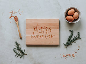 Cheers And Charcuterie Engraved Wooden Cutting Board