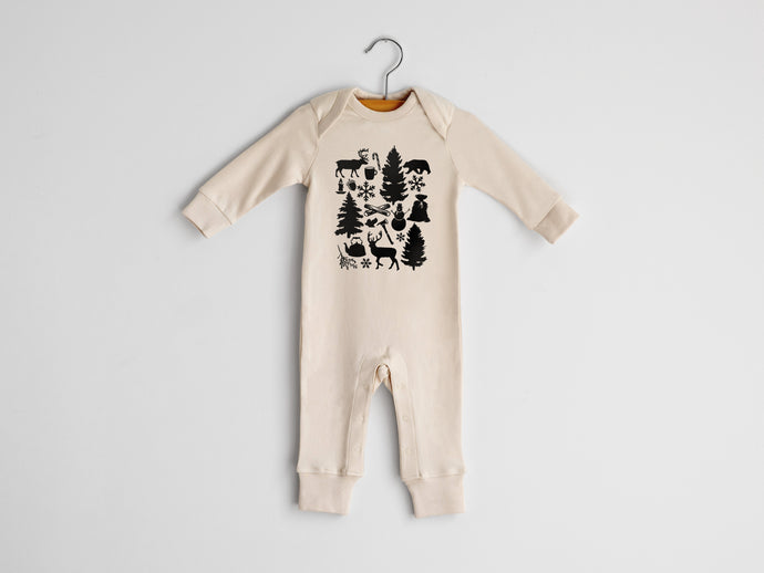 Christmas Illustration Full Body Organic Baby Romper