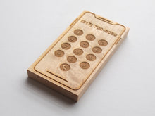Load image into Gallery viewer, Custom Engraved Wooden Phone • Personalized Toy Smartphone